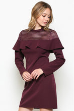 Load image into Gallery viewer, Burgundy Longsleeve Mesh Contrast Dress