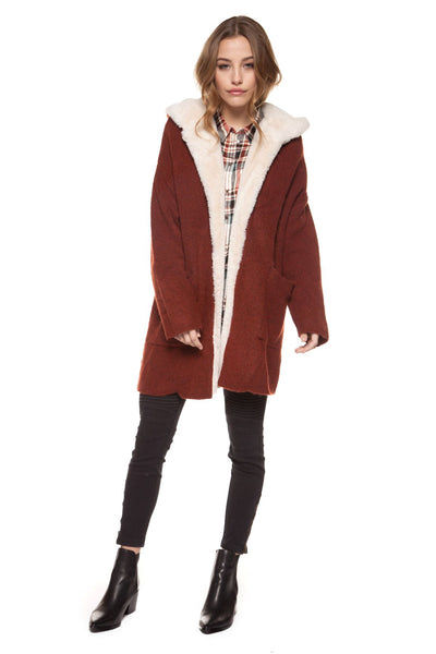 Hooded Open Cardigan Sherpa Jacket