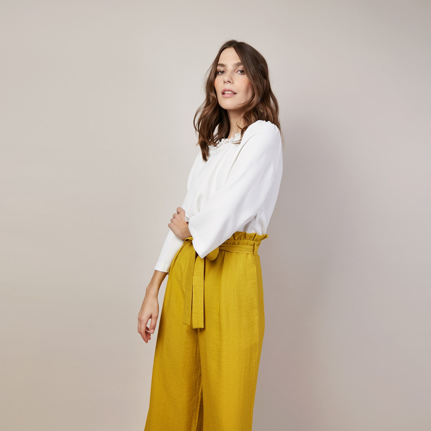 Belted Wide Leg Crop Trousers