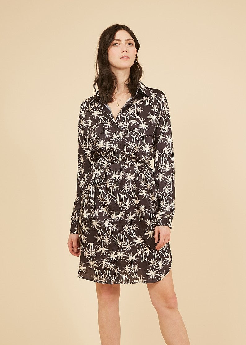 Palm Print Anaid Tie Front Dress