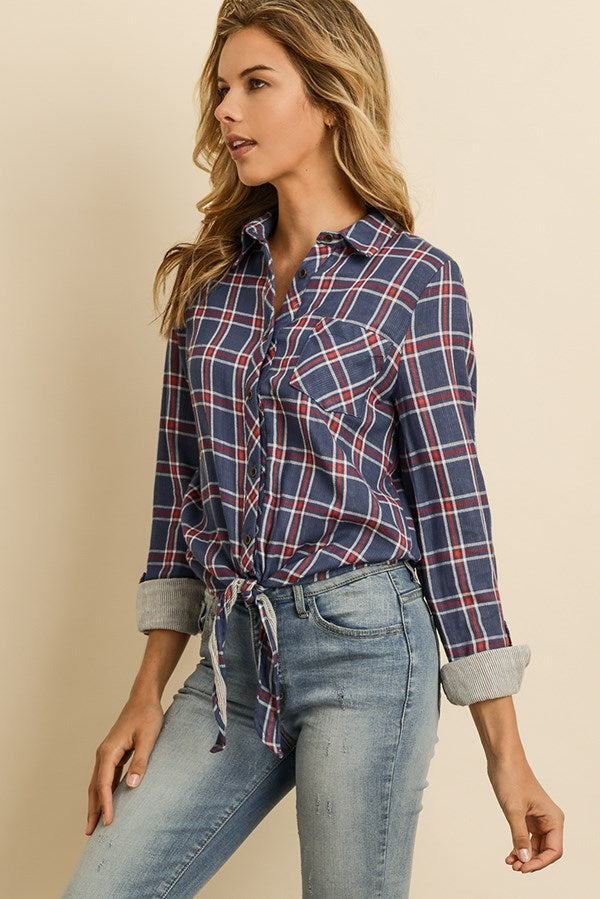 Check Tie-Front Contrast Shirt