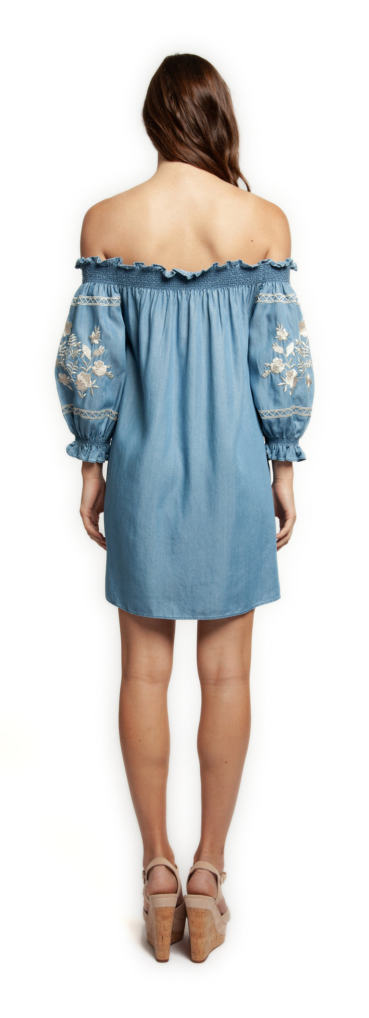 Embroidered Off Shoulder Chambray Dress