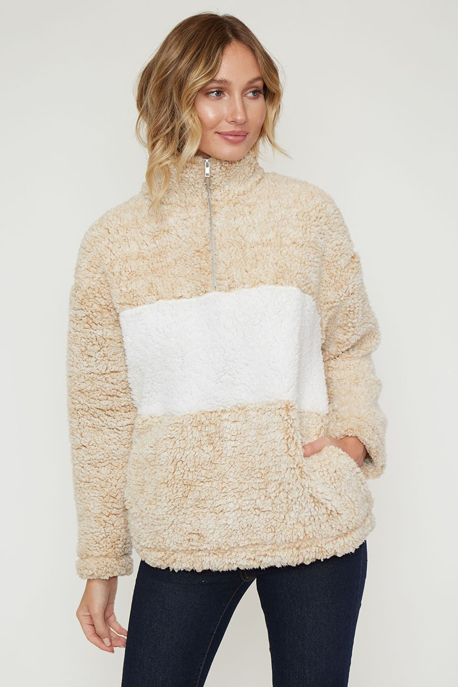 Two Tone Sherpa Pullover w/Pockets