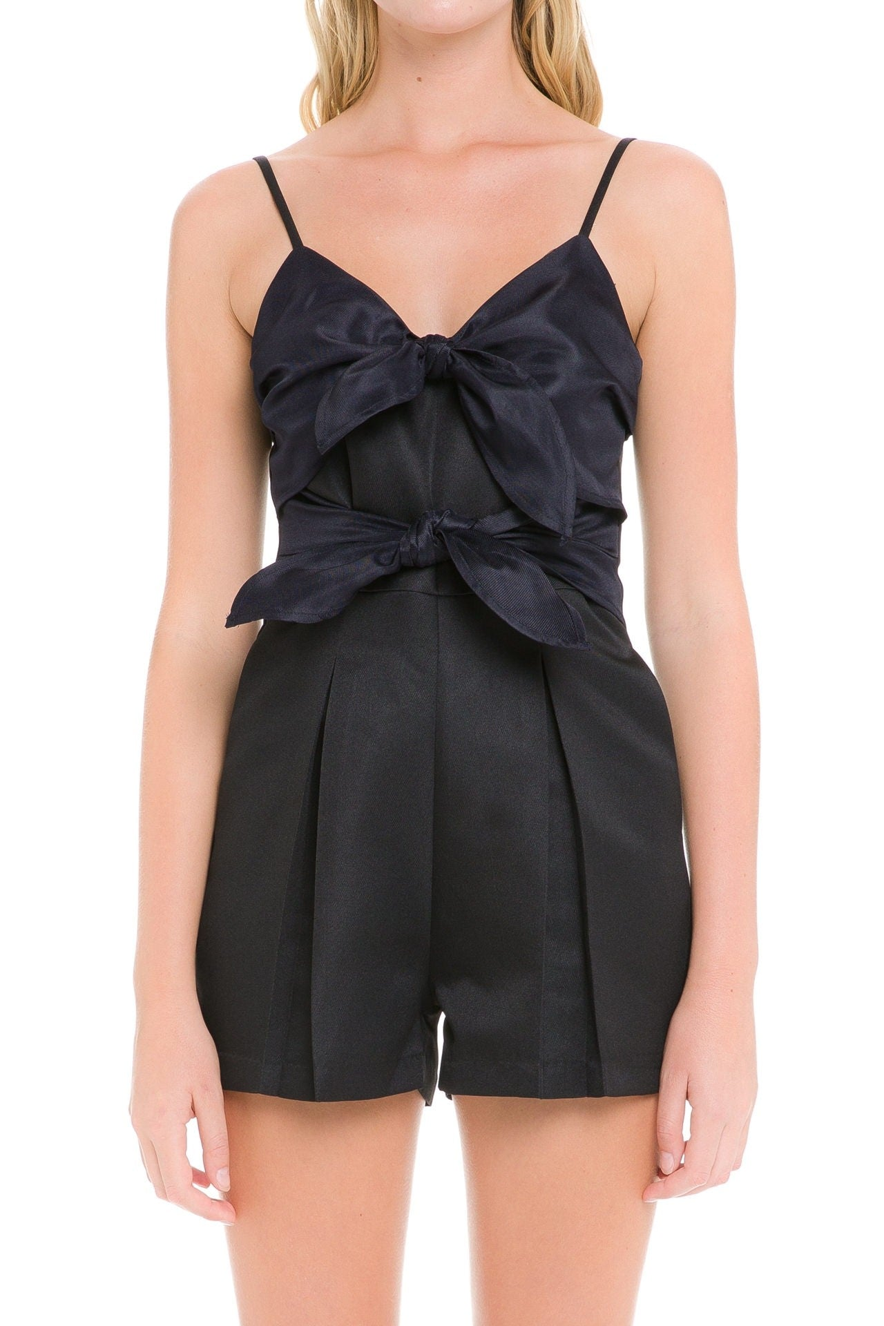 Colorblock Double Front Tie Romper