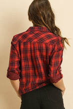 Load image into Gallery viewer, Buffalo Plaid Front Tie Button Up