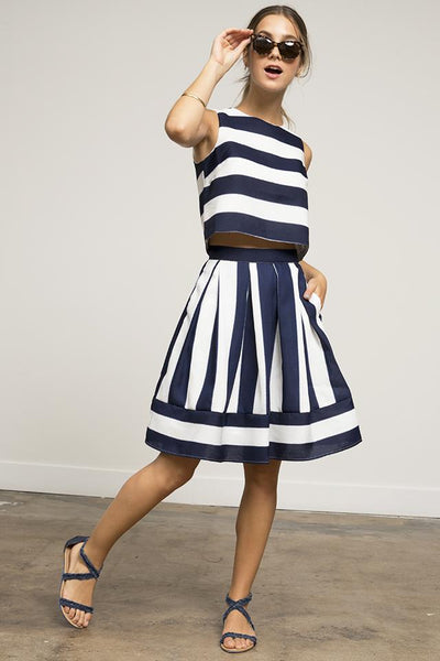 Kara Stripe Skirt with Pockets