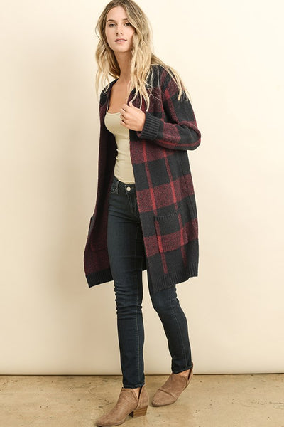 Plaid Sweater Cardigan