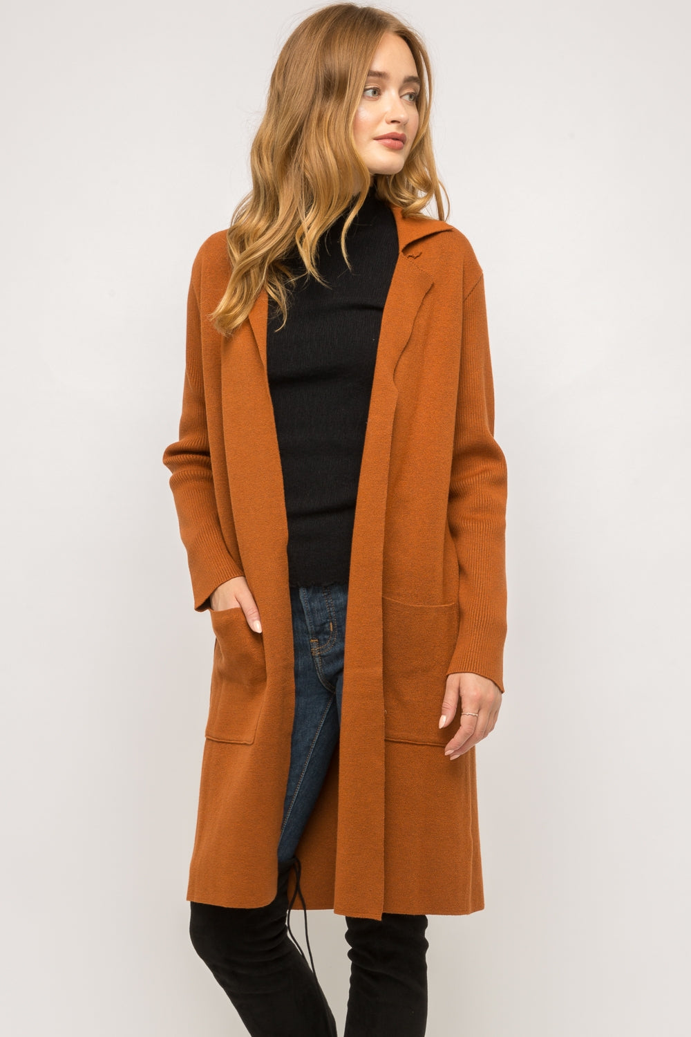 Long Open Collar Cardigan