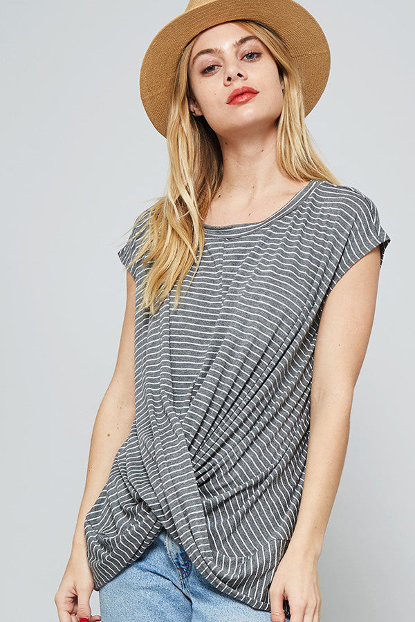 Twist Stripe Front Top