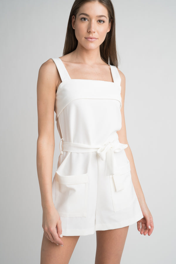 Straight Neck Romper with Pockets