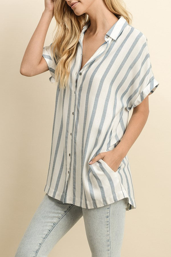 Striped Button Down Blouse