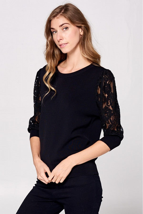 Ribbed Lace Top