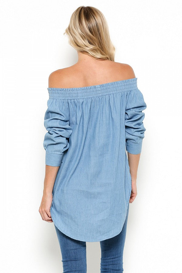 Chambray Off Shoulder Tunic