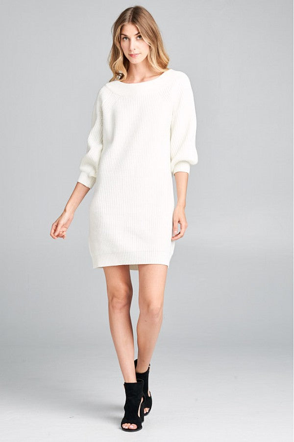 Cream Ribbed Knit Comfy Dress