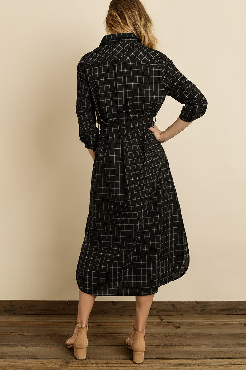Windowpane Plaid Midi Shirt Dress