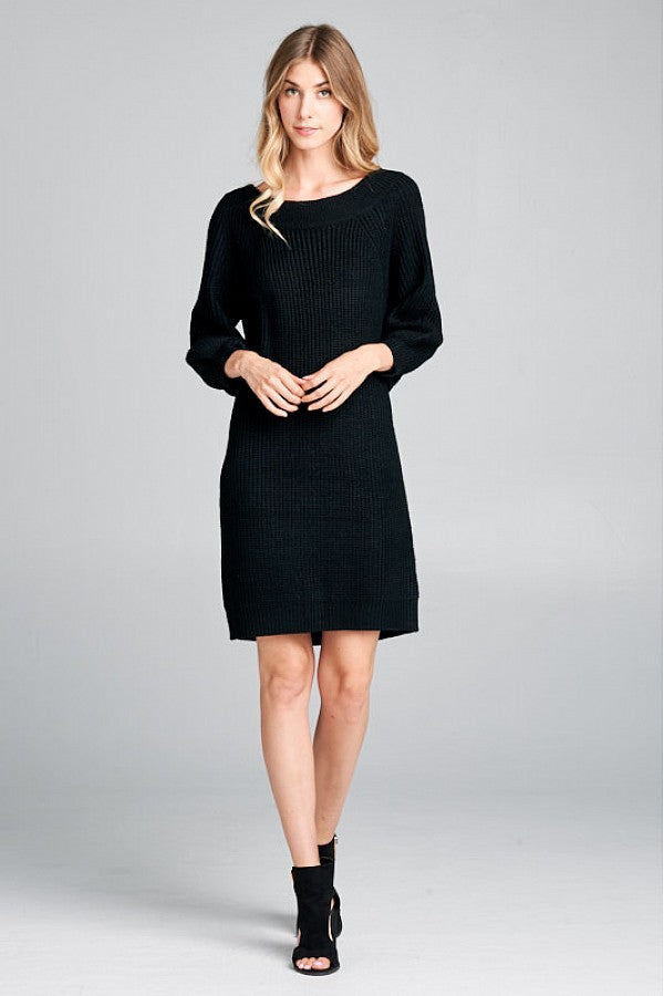 Black Ribbed Knit Comfy Dress