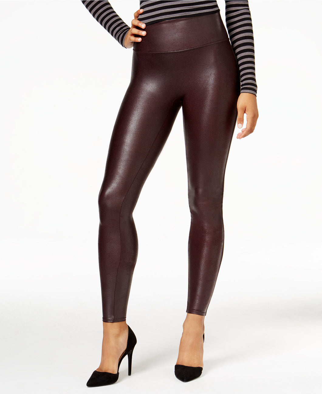 SPANX Burgundy Faux Leather Leggings