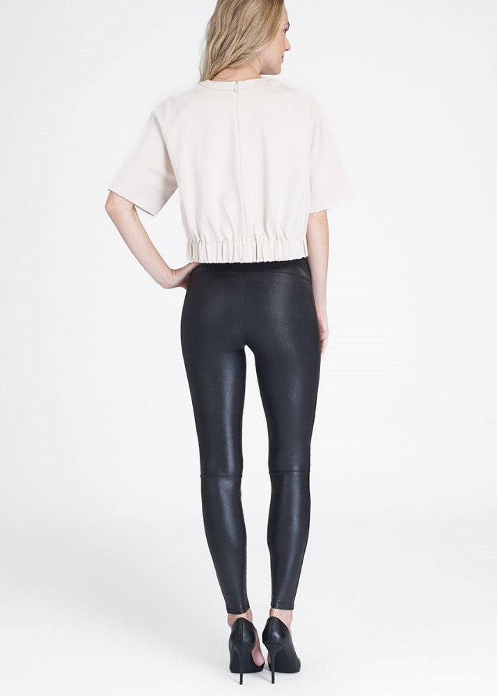 Faux Leather Hip-Zip Leggings