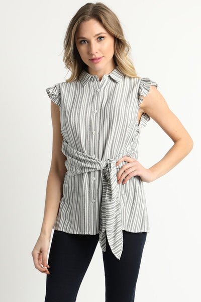 Front Tied Ruffle Sleeve Blouse