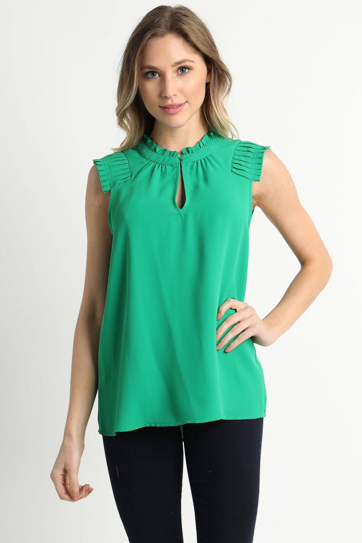 Pin Tucked Shoulder Ruffle Blouse