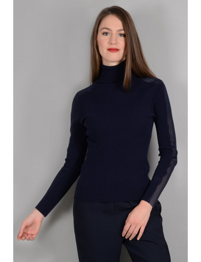 Arm Striped Detail Ribbed Turtleneck