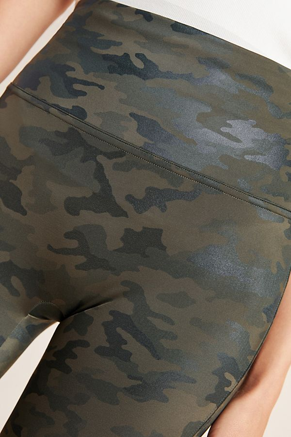 SPANX Green Camo Faux Leather Leggings
