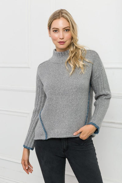High Neck Hi-Lo Sweater