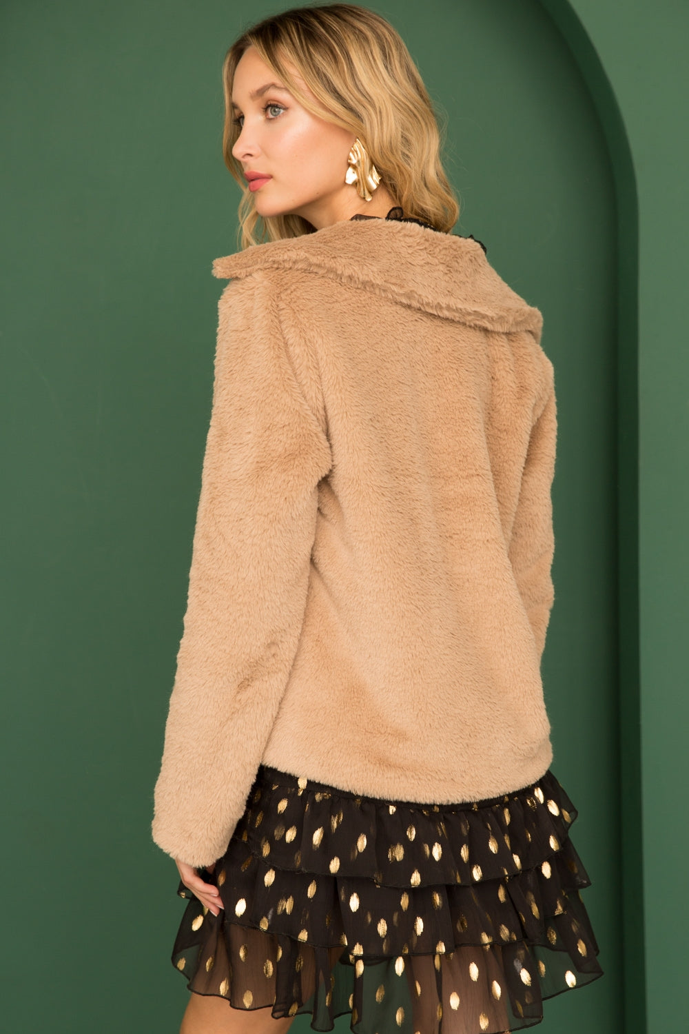 Faux Fur Jacket with Leopard Lining