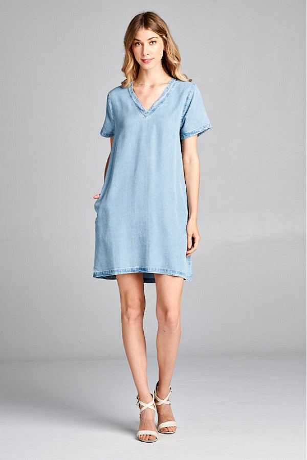 Chambray V-neck Dress