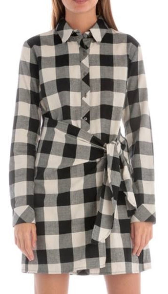 Plaid Front Tied Button Down Dress