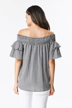 Load image into Gallery viewer, Gingham Off Shoulder Blouse