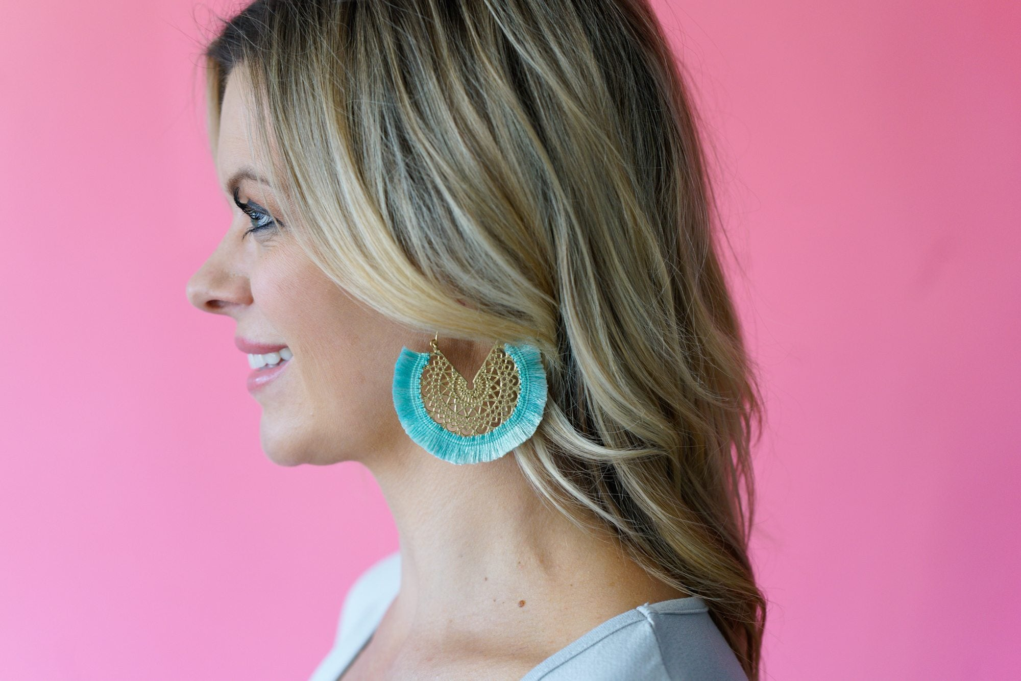 Mint Fringe Hoop Earrings