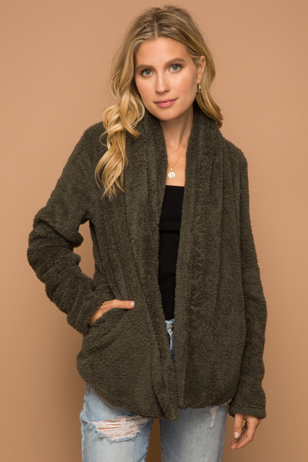Olive Fuzzy Shawl Collar Jacket