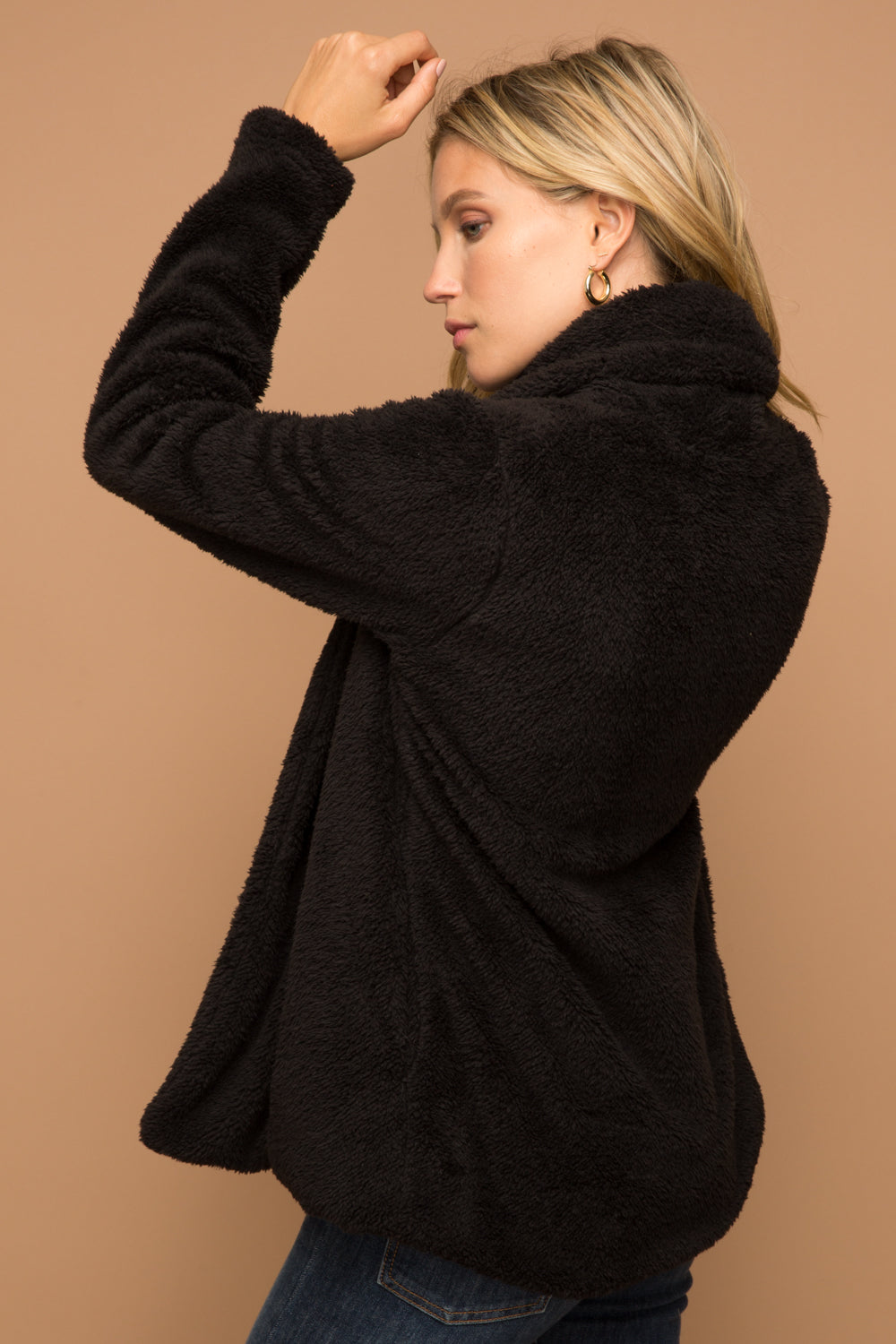 Black Fuzzy Shawl Collar Jacket
