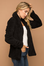 Load image into Gallery viewer, Black Fuzzy Shawl Collar Jacket