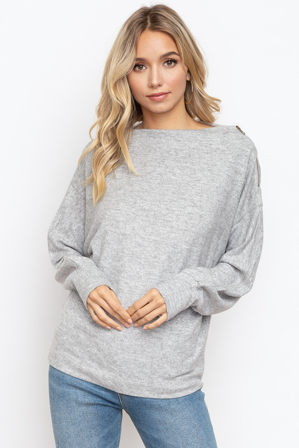 Asymmetrical Zipper Dolman Sweater