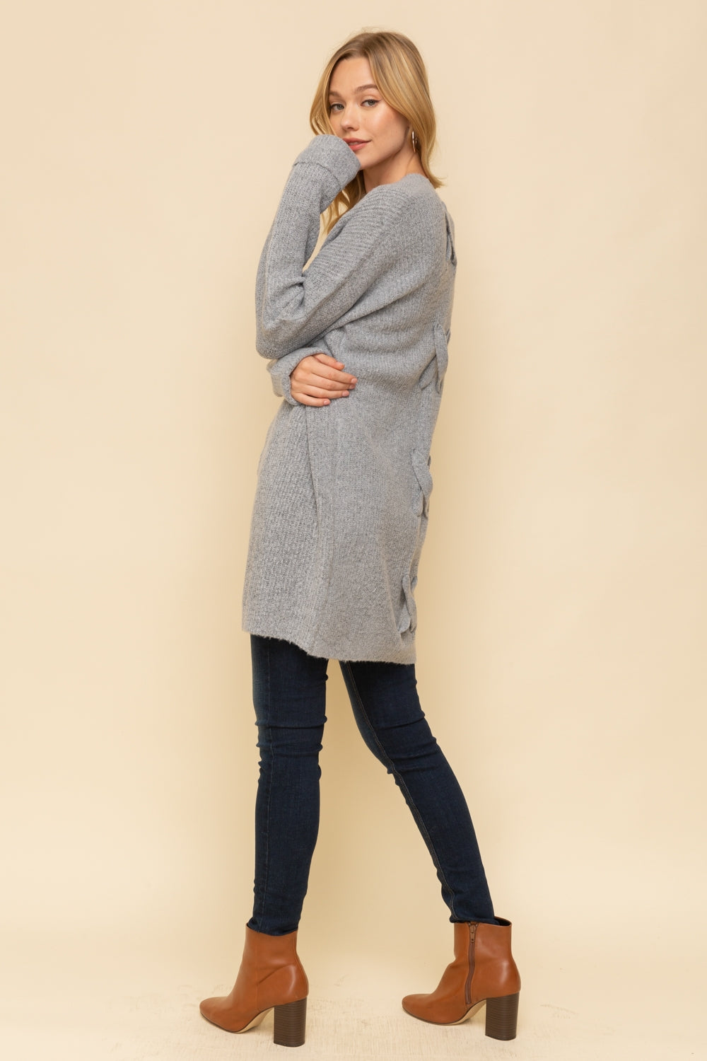 Cross Tie Back Cozy Open Cardigan