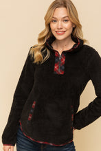Load image into Gallery viewer, Plaid Contrast Half Zip Fuzzy Pullover