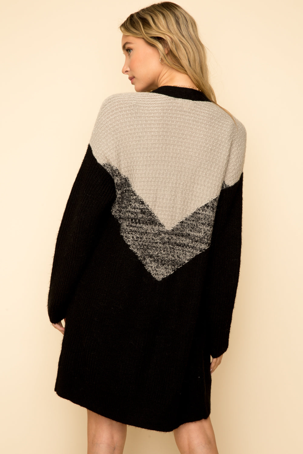 Two Tone Chevron Open Cardigan