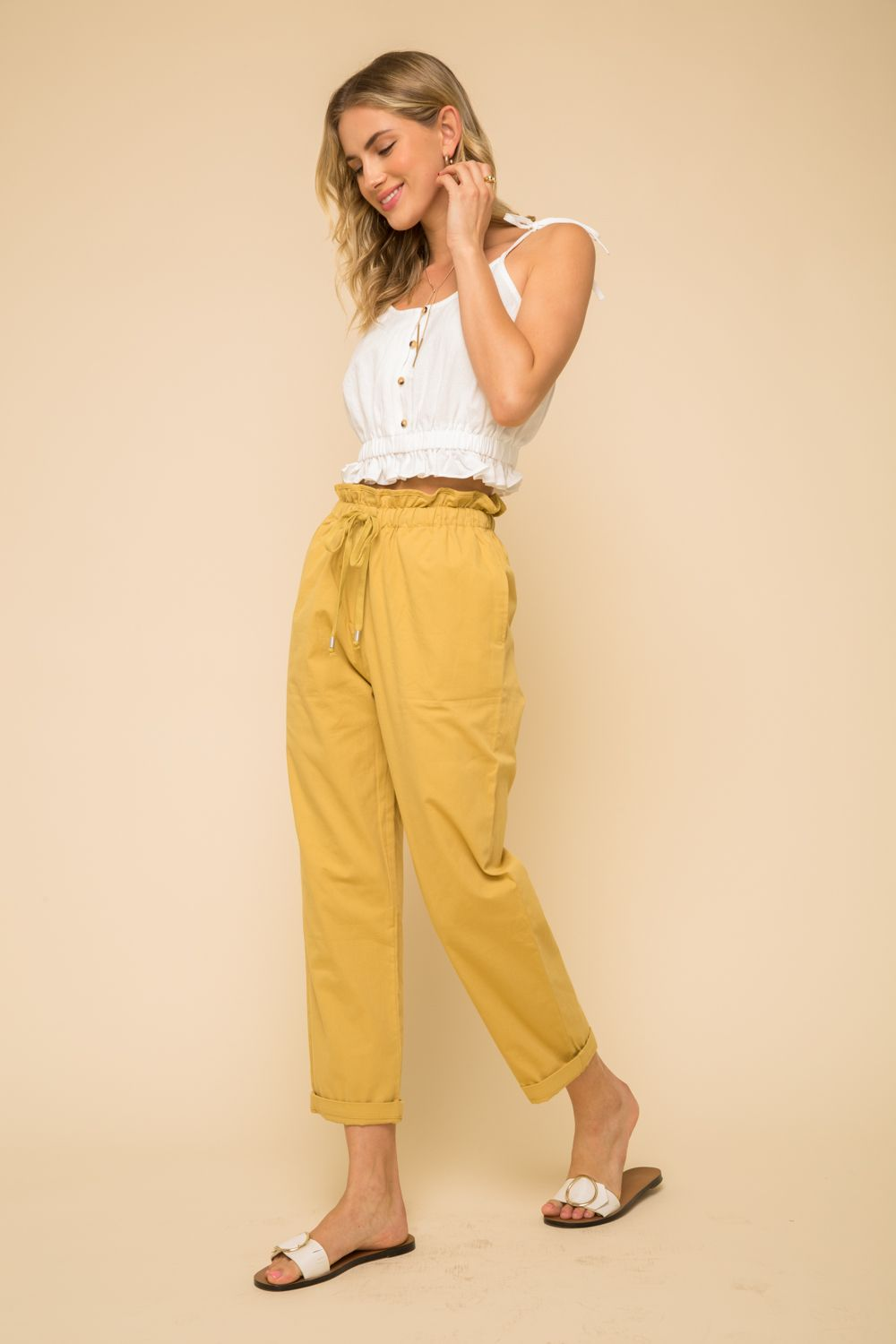 Paper Bag High Waist Pants
