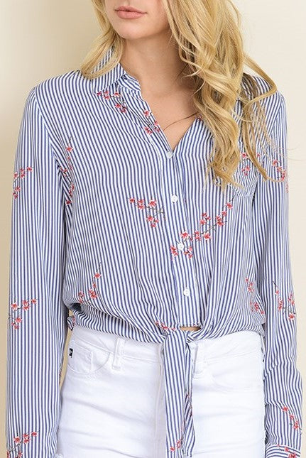 Striped Knotted Floral Blouse