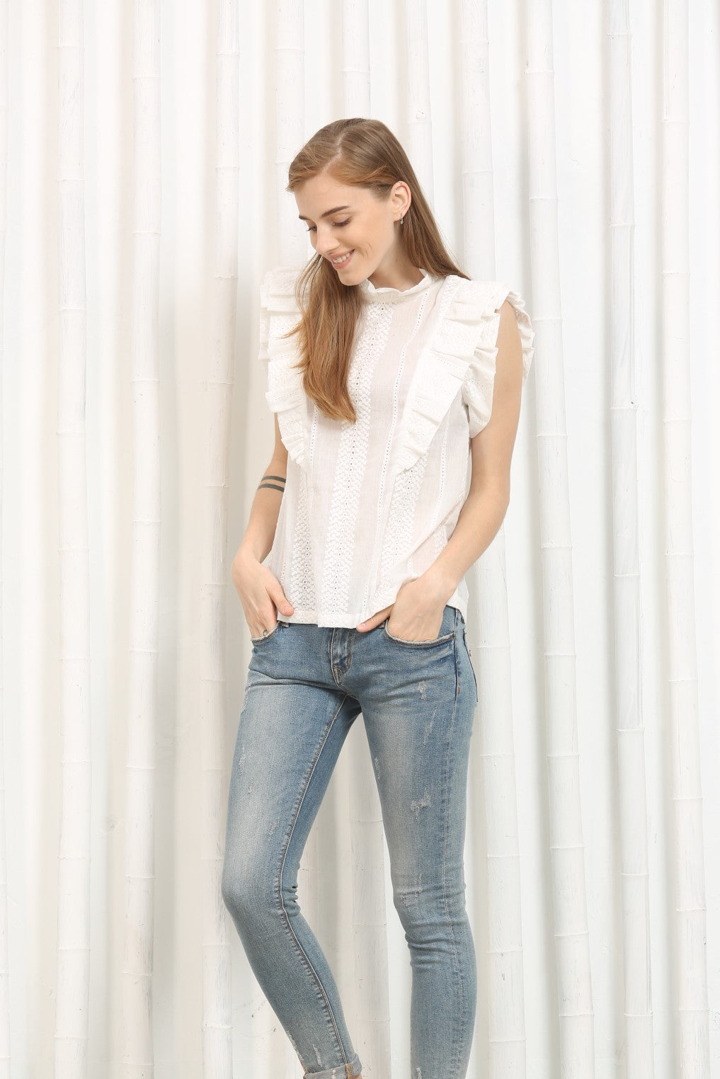 Sleeveless Eyelet Blouse