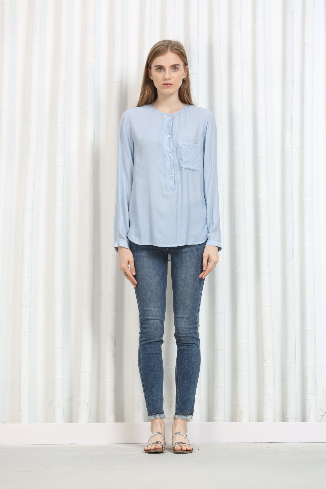 Long Sleeve Button Blouse