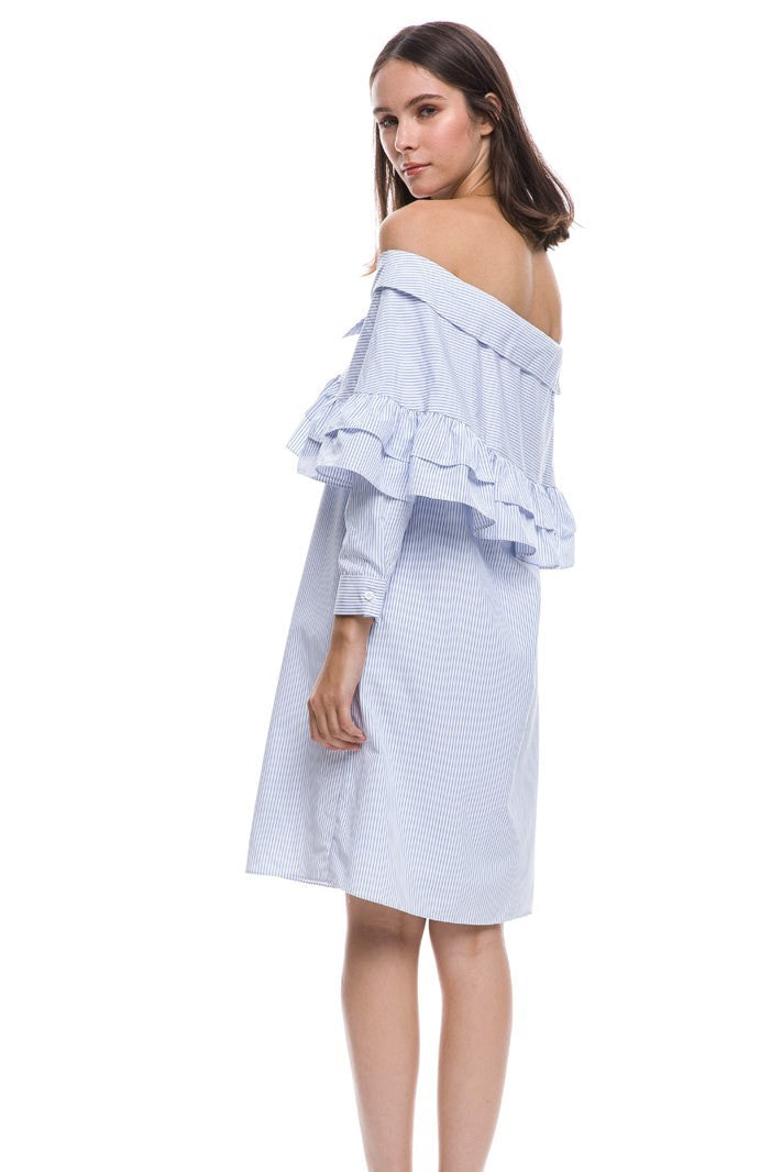 Longsleeve Off Shoulder Ruffle Dress