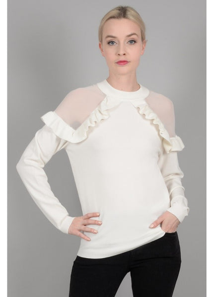 Mesh Shoulder Ruffle Blouse
