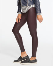 Load image into Gallery viewer, SPANX Burgundy Faux Leather Leggings