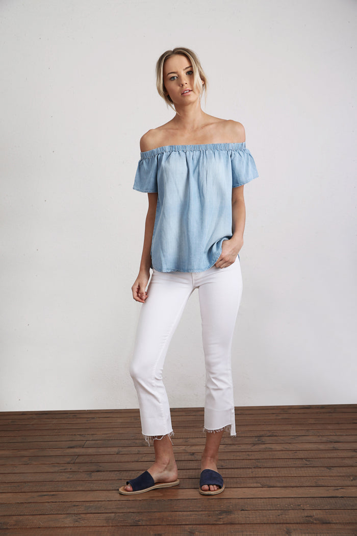 Chambray Off Shoulder Blouse