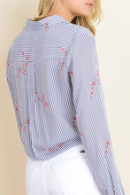 Load image into Gallery viewer, Striped Knotted Floral Blouse