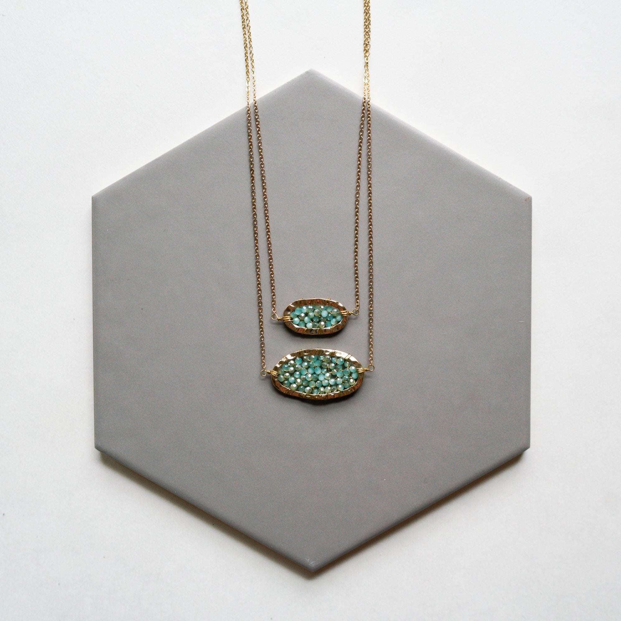 Mint Crystal Layered Necklace
