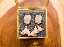 Load image into Gallery viewer, Blush Stone Tassel Earrings